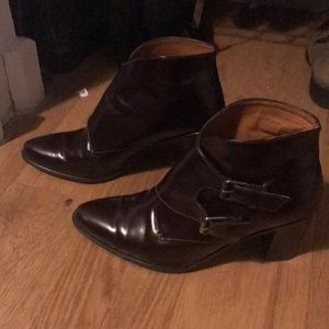 Madewell burgundy leather heeled boots size 9